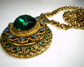 Fancy Green Jeweled Medallion Pendant,on Nice Gold Chain, Thrones Game Royalty Rhinestone Amulet, Ornate Medieval Style. 1970s