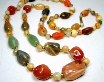 Vintage Agate Stone BEGGAR Beads.1960s .Authentic Hippie Necklace, 33 inch Strand of  Rust, Peach, Green SemiPrecious Agates w Brass Spacers