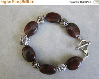ON SALE Brown Jasper and Sterling Bali Bead Bracelet-2