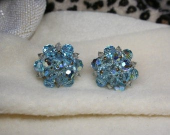 Vintage 1950's Blue Iridescent Stone & Bead Clip-On Earrings Silver