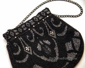 Vintage Black and Silver Beaded Wedding Clutch Purse, Beaded Handbag Formal Beaded Vintage Purse, Wedding Accessory, Made in Czechoslovakia