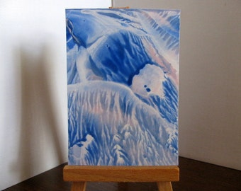 ACEO Blue Pastel Pink Abstract Encaustic (Wax) Original Painting. SFA (Small Format Art), Collectible Art, Miniature Art
