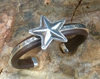 C54 You Are a Big Star Silver Inlayed on Leather Southwestern Native Style Cuff