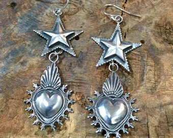 E276 Sterling Silver Stars Over Mesilla Hearts Southwestern Native Santa Fe Style Earrings