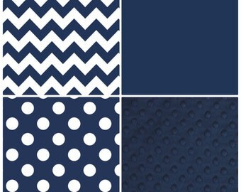 Custom Round Crib Bedding Navy and White Made To Order