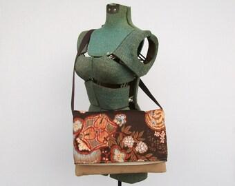 Brown Messenger Bag, Floral Purse, Faux Suede, Vegan Leather