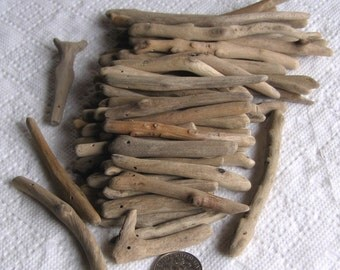58 Driftwood Sea Wood Beads Sticks Top Drilled 1mm holes Supplies (1810)