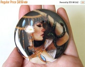 Labor Day SALE Cleopatra Pocket Mirror Made From Original Art with Organza Bag 2 1/4 inches