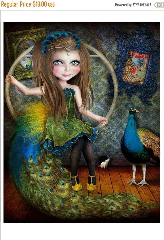 """SUMMER SALES EVENT 5x7 Art Print - """"Little Bird"""" - Circus Performer Girl Pretty Little Peacock - Small Fine Art Giclee Print of Digital Coll"""