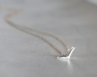 Blackbird Necklace in Two Toned Silver on Gold Chain or All Silver- Tiny Modern Bird Shape Pendant