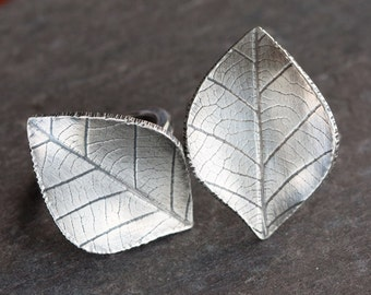 Handmade Hand Forged Sterling Silver Leaf Ring Oxidized Textured Unique