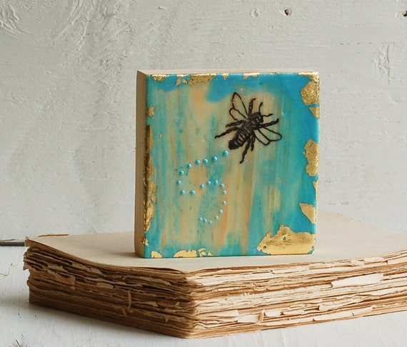 Bumble BEE Blues Encaustic Beeswax Mini Painting Honeybee Gold