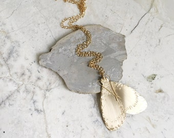 Moth Necklace. Gold Moth Pendant. Insect Pendant. Brass and Gold Fill. Stamped Brass Pendant. Bug Insect Necklace. Wings Necklace. Modern.