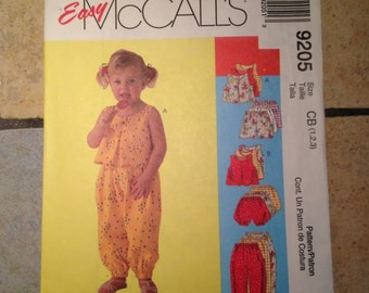 McCall's 9205 Toddler Girl's Sizes 1,2,3 Top, Pants, Shorts and Bloomers Pattern UNCUT