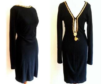 90s lbd black dress gold tassle party formal back dolman s m
