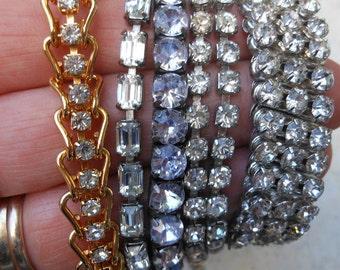Rhinestone jewelry collection bracelets necklace expandable gold tennis bracelet lot
