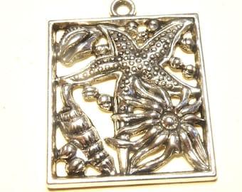 One (1) Rectangular Antiqued Pewter Pendant: Sea Life