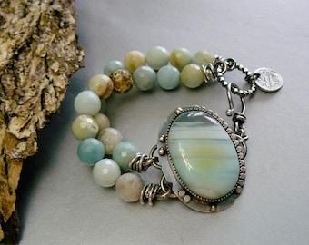Bayside - Ocean Inspire Agate Gemstone bracelet Set in Sterling Silver - Faceted Blue Opal Gemstones - Sterling Fishhook Clasp Charm Ornate