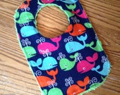Flannel & Chenille Baby Bib, Snap Closure, Navy Blue with Colorful Whales, ready to ship