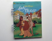 vintage lady and the tramp upcycled notebook, mixed paper