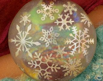 "Handmade Lampwork Beads SRA ""Snowstorm"" Sandblasted Dichroic Glass Focal Bead Lentil"