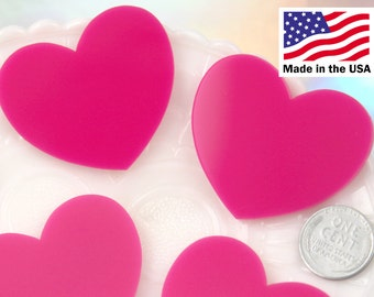 Heart Cabochons - 45mm Bright Fuchsia Hot Pink Heart Cabochons - 4 pc set