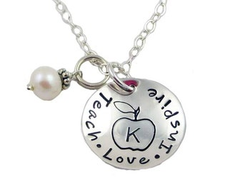 Hand Stamped Teach.Love.Inspire Initial Charm Necklace, Sterling Silver