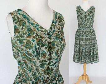 70's Cotton Boho Print Dress / Pleated Skirt / Green & Teal / Sleeveless / Small to Medium