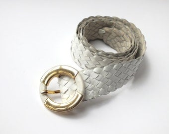 Vintage 80s Women White Braided Leather Belt with Gold and White Buckle - Womens Clothing Accessory - 80s Fashion Accessory - Retro Belt