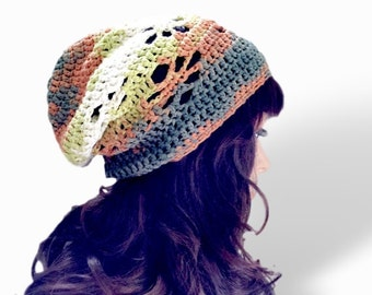 Summertime Slouchy Beanie - Green Creme Rust Meandering Tones-  100 Percent Cotton Designer Yarn - Sol Degrade