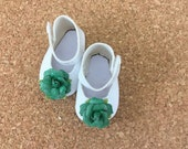 """Fits American Girl Doll Shoes for 18"""" Dolls Embellished White Mary Jane Shoes with Glitter Frosted Green Roses Accessories"""