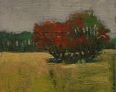 """September Song - Original Acrylic or Oil Encaustic Landscape Painting 8"""" x 8"""""""