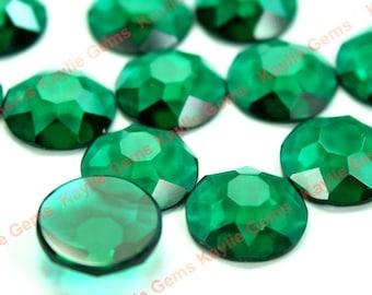 25mm Round Glass Jewel Stone Flat Back Snow Flake Cut 1 piece - Emerald