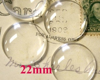 22mm Round Clear Glass Cabochon Super Smooth for Photo Collage Glue on Projects - 10pcs