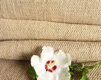 R 414 antique hemp french 천 OATMEAL upholstery 5.13 yards handloomed STAIRUNNER  benchcushion Beachhouse look