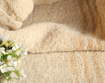 B 678: antique handloomed FADED CARAMEL chunky; 48.82 inches long, 리넨, grainsack for pillows cushions runners
