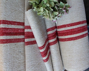 C 580 antique hemp linen RED upholstery christmas tablerunner benchcushion Beachhouse look tablerunner 5.24yards