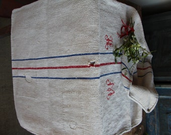 c 682 grain sack,  antique linn;  wedding decoration; christmas, LIN, FRENCH RED;  pillow benchcushio thanksgiving; gift bag