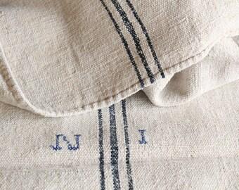 C 949 antique handloomed chunky DARK INDIGO grainsack LUMBAR pillow cushion french lin runners 42.52long