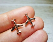 Airplane Stud Earrings, Dainty Earrings