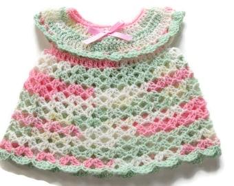 Crochet Baby Dress - Crocheted Newborn Dress -  Pink Green White Baby Dress - Newborn  Baby Dress - Baby Girl Dress