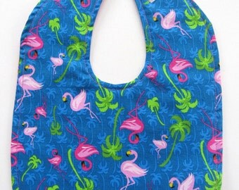 Ready To Ship - Flamingos Baby Bib - Palm Trees Baby Bib - Flamingos & Palm Trees Toddler Bib - Tropical Baby Bib