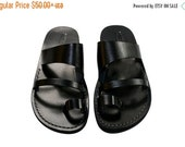 20% OFF Black Thong Leather Sandals for Men & Women
