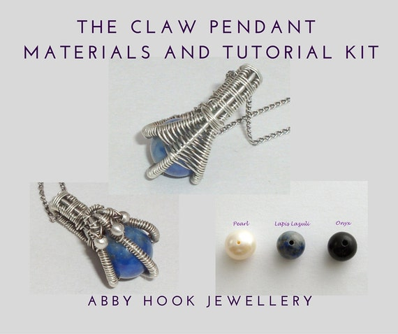 The Claw Pendant tutorial and Materials kit - Wire jewelry pendant kit