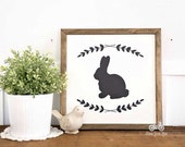 Handpainted Sign, EASTER BUNNY, Handpainted, 12x12, Wall Sign, Cottage Decor, Modern Farmhouse, Spring Sign, Laurels & Wreaths