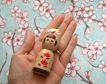 Kokeshi, Japanese doll, kawaii, sweets deco, decoden, fake sweets, Harajuku, teen gift, gift for girl, friends gift, home decor, wooden doll