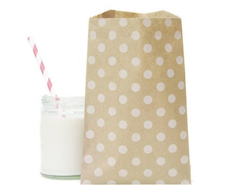 "12 Medium White Polka Dots Kraft Bag . 5"" x 7.5"" for Favors, Candy, Gift Wrap, Packaging, Envelopes"