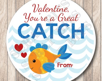 Instant Download You're a Great Catch Tags . Printable Goldfish Valentine Tags