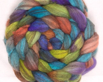 Hand painted spinning wool, British Shetland Humbug, hand dyed spinning fibre, hand painted, Fibre Fiber, colour Ramble