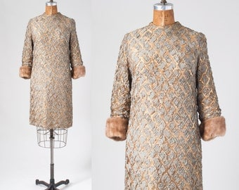 Vintage Ribbon Dress with Mink Cuffs, Mod Gold Metallic Nude Illusion Shift, Jackie Kennedy Formal Party Dress